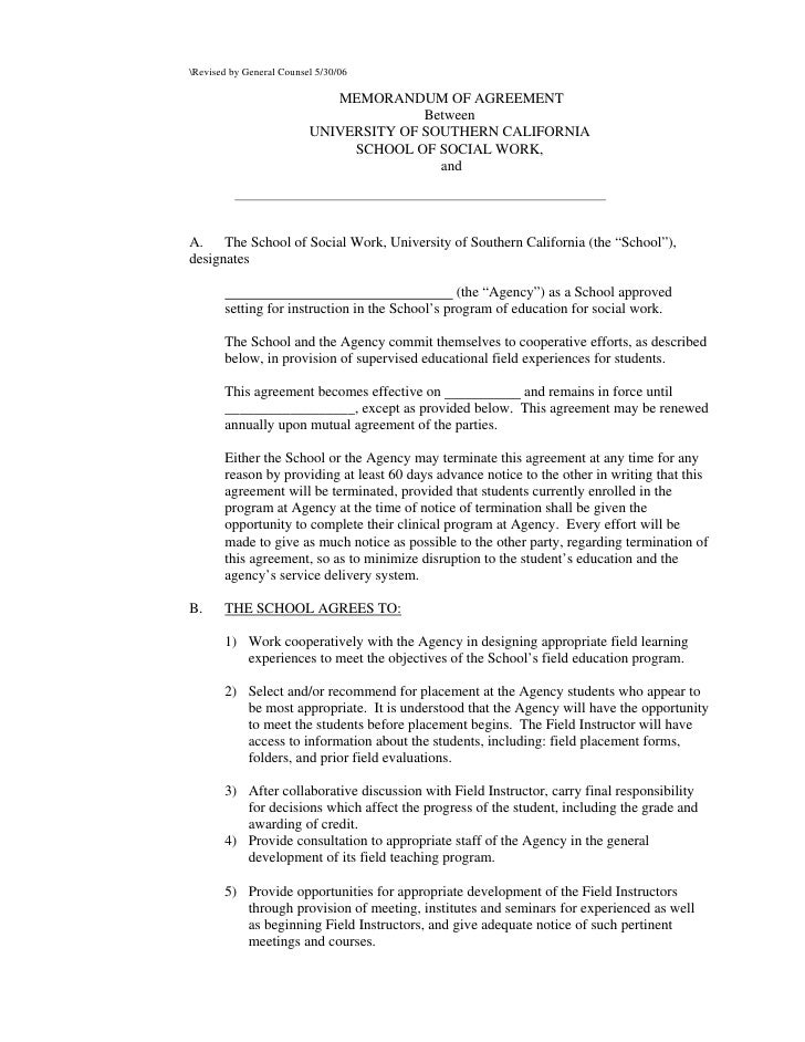 Revised By General Counsel Memorandum Of Agreement Between University – Sample Memorandum of Agreement