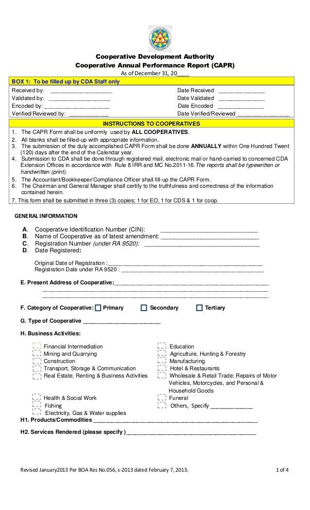 Revised CAPR Form 2012