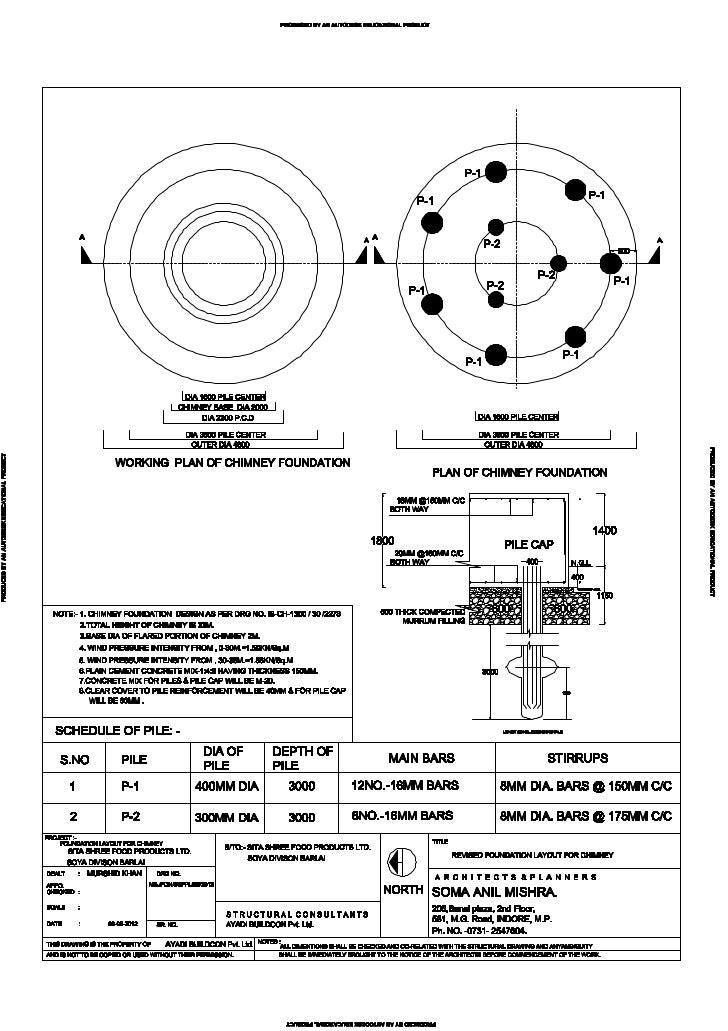 Chimney foundation Detailed drawing- Self Supported Steel Chimney