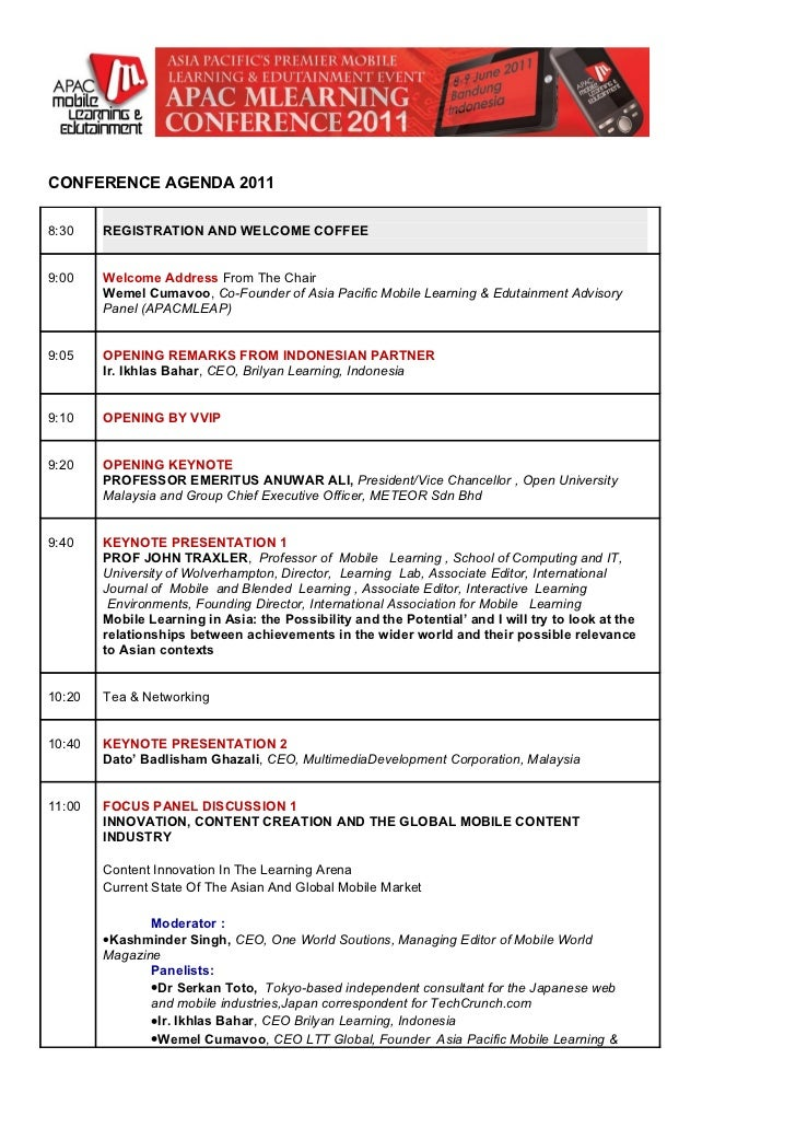 CONFERENCE AGENDA 20118:30    REGISTRATION AND WELCOME COFFEE9:00    Welcome Address From The Chair        Wemel Cumavoo, ...