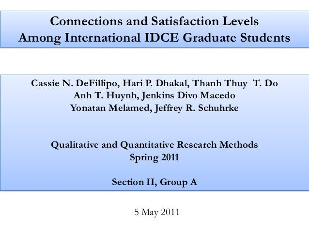 Connections and Satisfaction LevelsAmong International IDCE Graduate Students Cassie N. DeFillipo, Hari P. Dhakal, Thanh T...