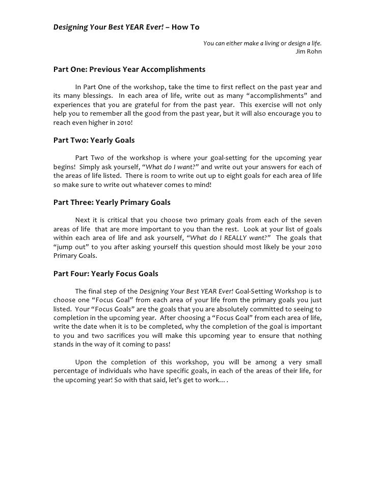 Jim Rohn Goal Setting Worksheet: designing your best year ever goal setting workshop,