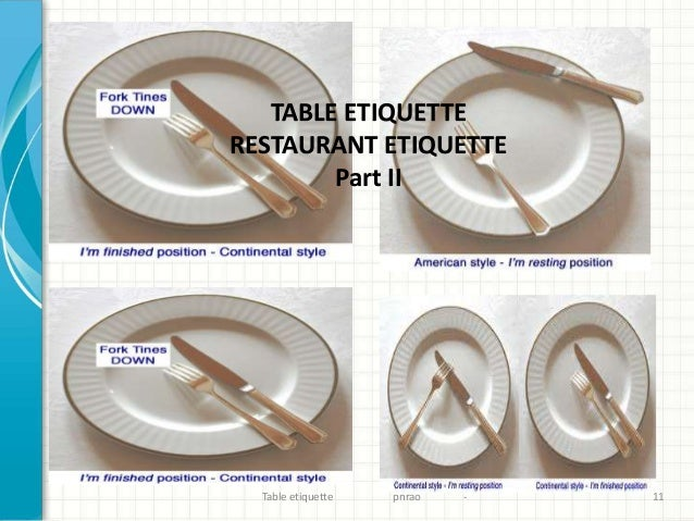 P N Rao Revised Dining Table Etiquette