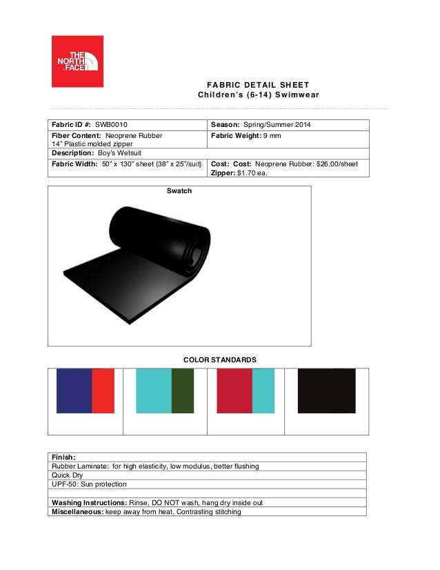 The North Face New Line Development Fabric Detail Sheet
