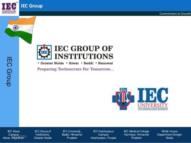 IEC Group Commitment to Growth  IEC Group IEC Alwar Campus 10/29/2013 Alwar, Rajasthan  IEC Group of Institutions, Greater...