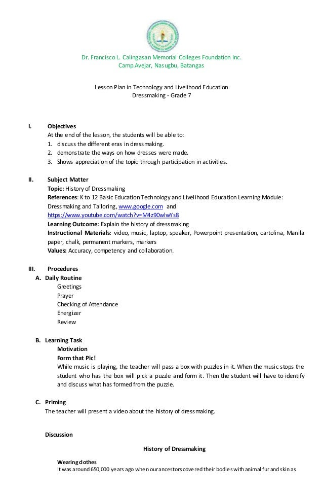 Semi Detailed Lesson Plan In TL E History Of Dressmaking
