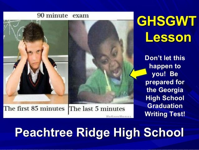GHSGWTGHSGWT LessonLesson Peachtree Ridge High SchoolPeachtree Ridge High School Don't let this happen to you! Be prepared...