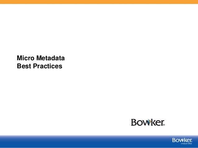 Micro Metadata Best Practices