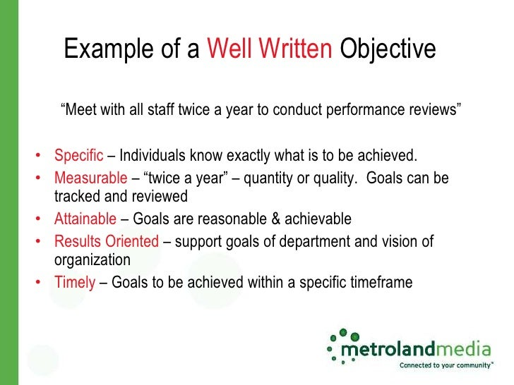 examples of well written objectives