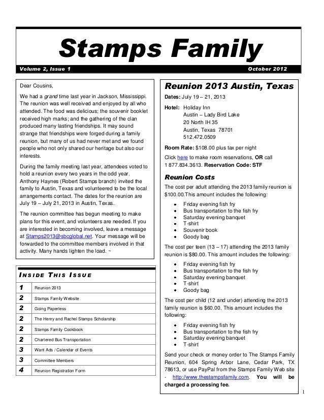 Stamps FamilyVolume 2, Issue 1                                                                              October 2012De...