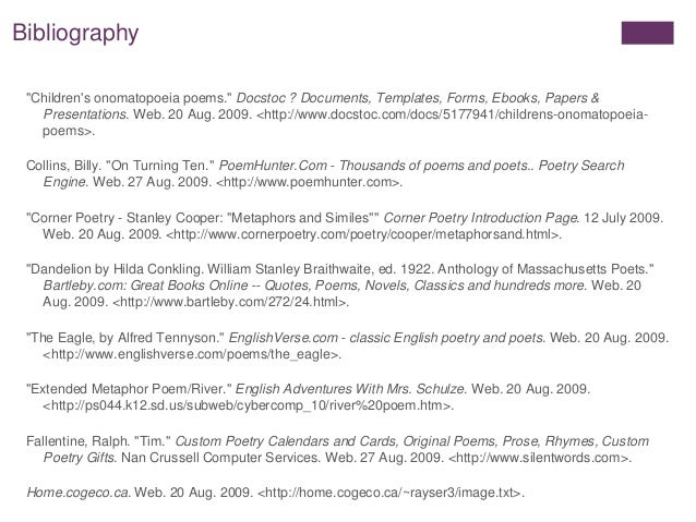 Biggest Write A Bibliography For A Poem want manage