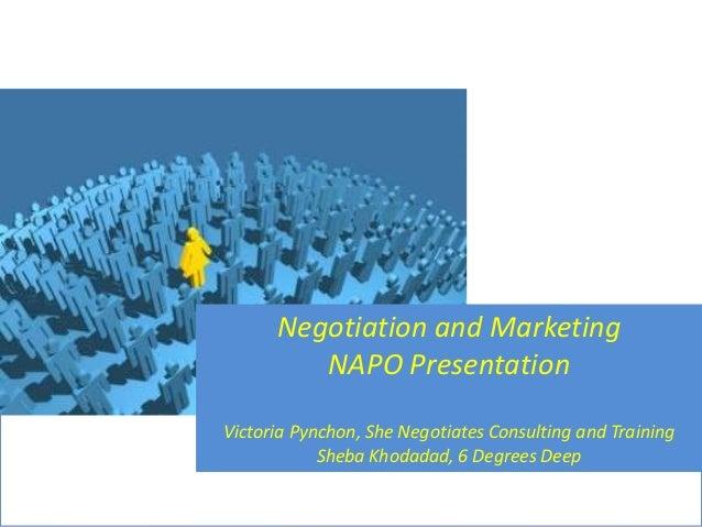Negotiation and Marketing NAPO Presentation Victoria Pynchon, She Negotiates Consulting and Training Sheba Khodadad, 6 Deg...
