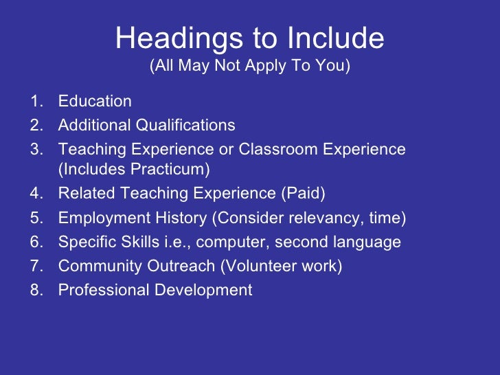 list of resume headings april onthemarch co