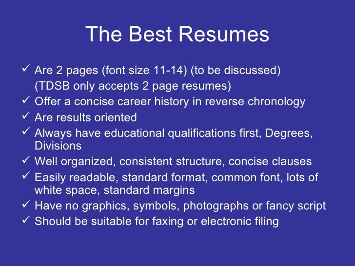 best resume font and size