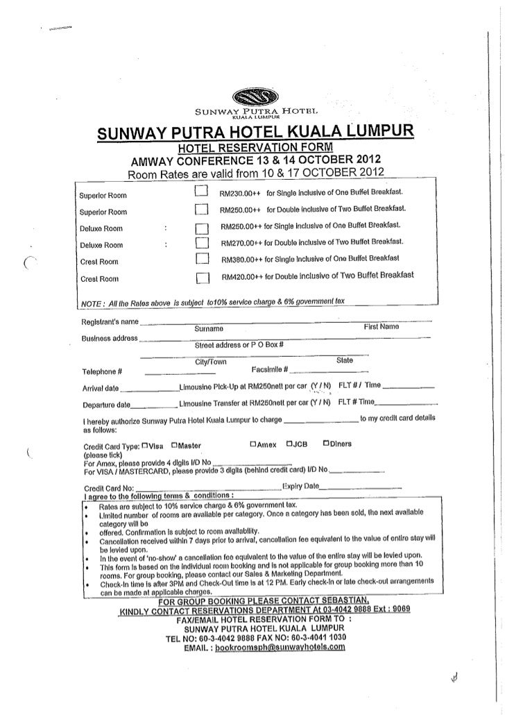 Hotel Reservation Form Amway Conference    Oct Sunway Put