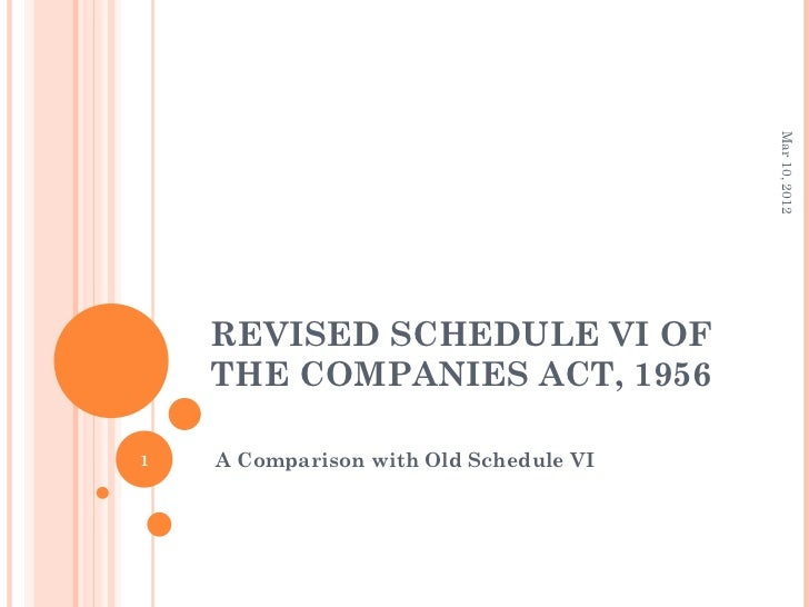 Mar 10, 2012    REVISED SCHEDULE VI OF    THE COMPANIES ACT, 19561   A Comparison with Old Schedule VI