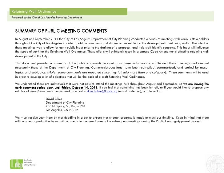 Retaining Wall OrdinancePrepared by the City of Los Angeles Planning Department  SUMMARY OF PUBLIC MEETING COMMENTS  In Au...
