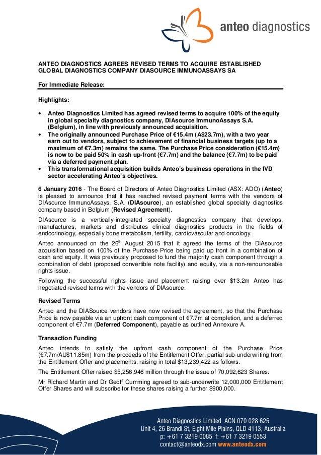 Anteo Diagnostics acquires Diasource