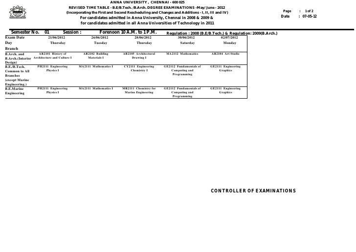 ANNA UNIVERSITY , CHENNAI - 600 025                                           REVISED TIME TABLE - B.E/B.Tech. /B.Arch. DE...