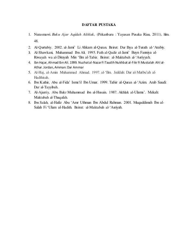 Daftar Pustaka Makalah Akhlak Sarjana Muslim