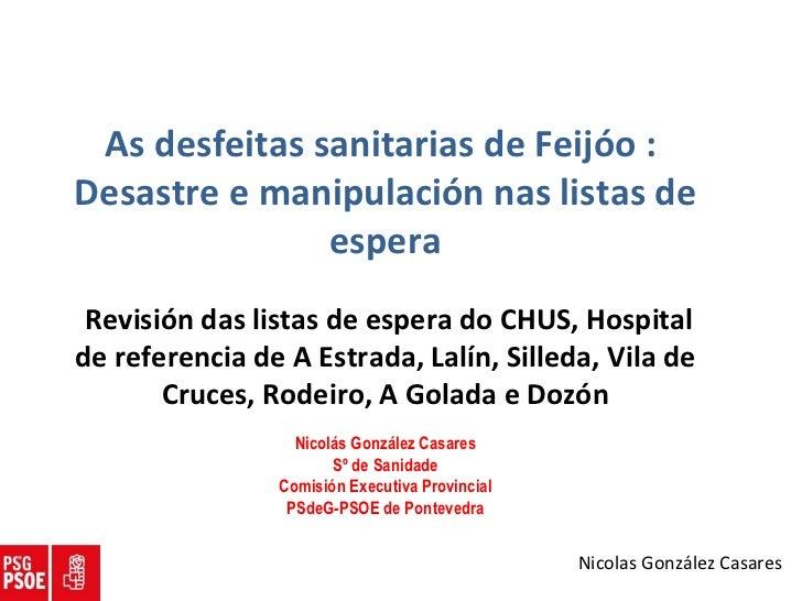 As desfeitas sanitarias de Feijóo :  Desastre e manipulación nas listas de espera Revisión das listas de espera do CHUS, H...