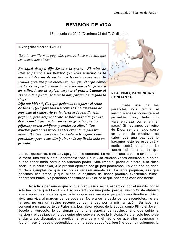"""Comunidad """"Siervos de Jesús""""                              REVISIÓN DE VIDA                    17 de junio de 2012 (Domingo..."""