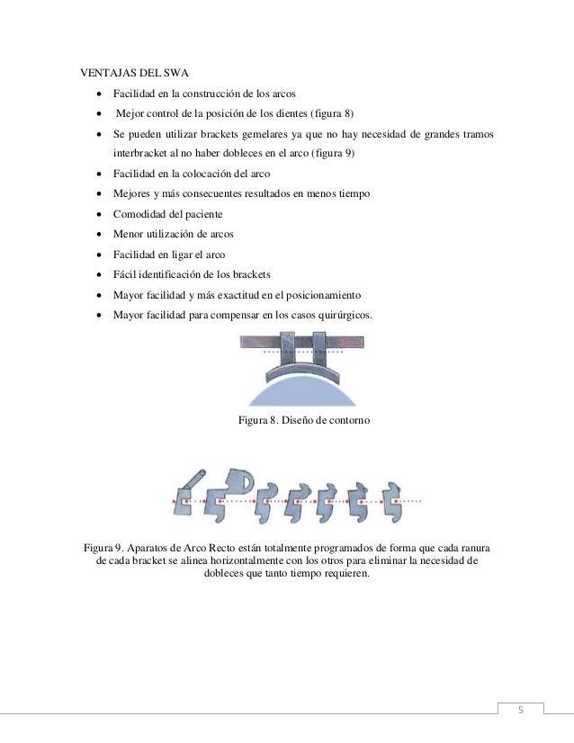 5 VENTAJAS DEL SWA  Facilidad en la construcción de los arcos  Mejor control de la posición de los dientes (figura 8)  ...