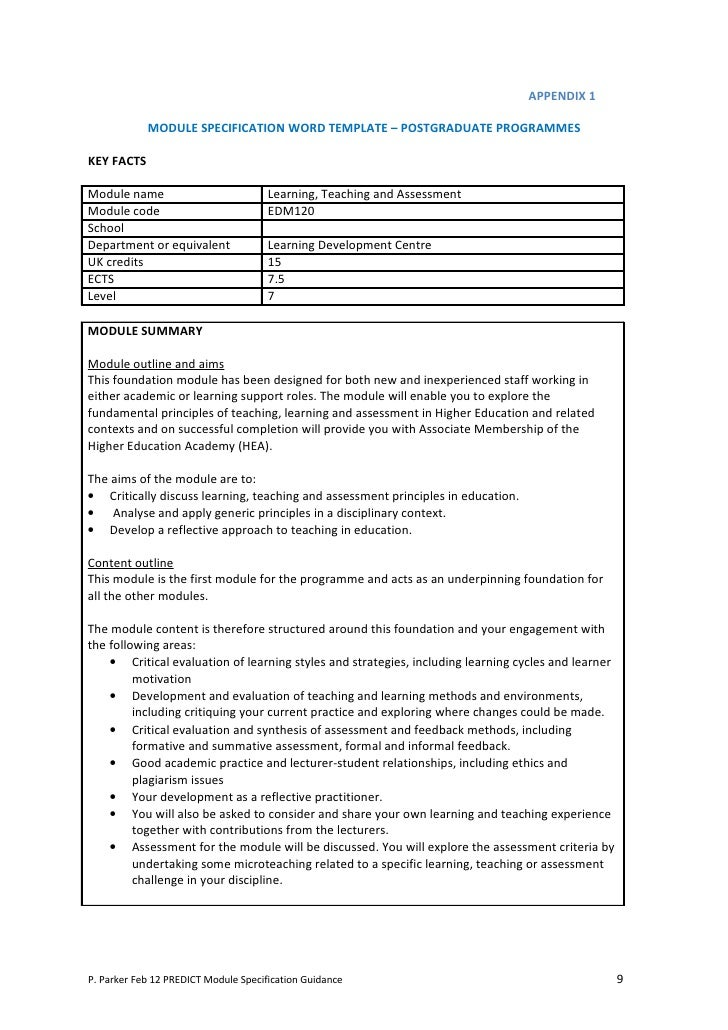 revising module specifications  a guidance booklet