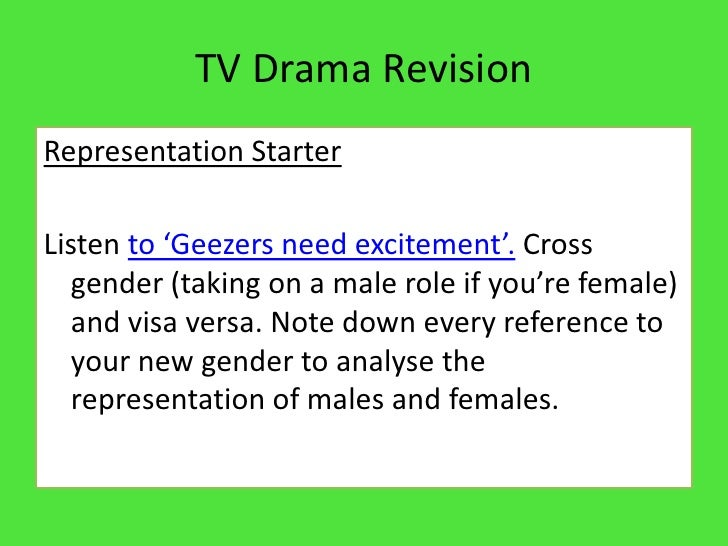 TV Drama Revision<br />Representation Starter<br />Listen to 'Geezers need excitement'. Cross gender (taking on a male rol...