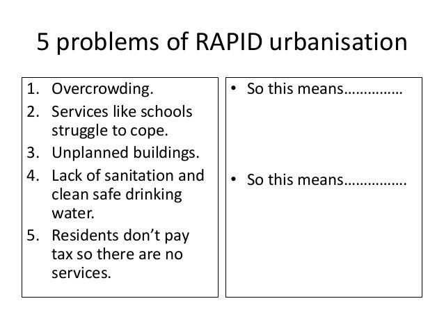5 problems of RAPID urbanisation 1. Overcrowding. 2. Services like schools struggle to cope. 3. Unplanned buildings. 4. La...