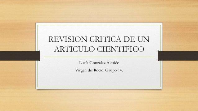 REVISION CRITICA DE UN ARTICULO CIENTIFICO Lucía González Alcaide Virgen del Rocío. Grupo 14.