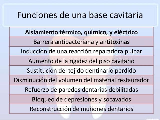 Funciones de una base cavitaria     Aislamiento térmico, químico, y eléctrico        Barrera antibacteriana y antitoxinas ...