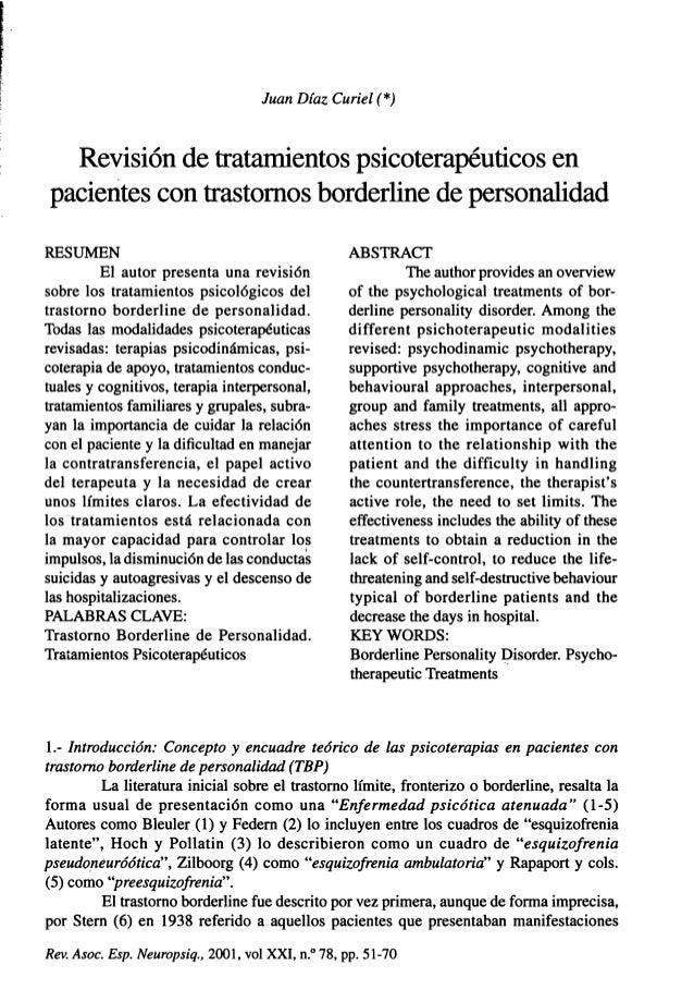 Juan Díaz Curiel (*) Revisión de tratamientos psicoterapéuticos en pacientes con trastornos borderline de personalidad RES...