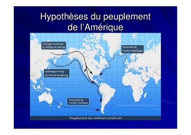 Hypothèses du peuplementHypothèses du peuplement de l'Amériquede l'Amérique
