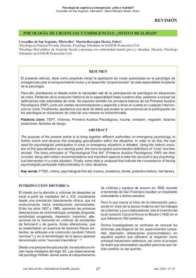 Psicología de urgencia y emergencias: ¿mito o realidad?                          Cavanillas de San Segundo, Mercedes1. Mar...