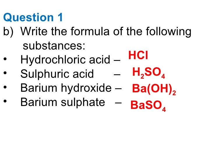 What is the formula for barium hydroxide?