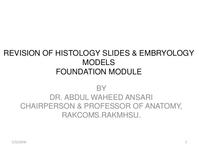 REVISION OF HISTOLOGY SLIDES & EMBRYOLOGY MODELS FOUNDATION MODULE BY DR. ABDUL WAHEED ANSARI CHAIRPERSON & PROFESSOR OF A...