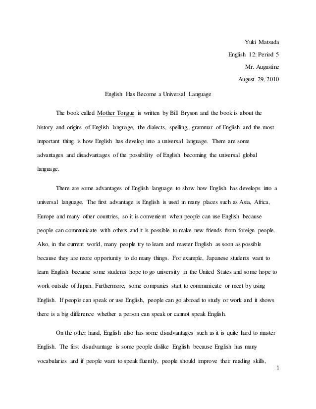 Essay on mother tongue in english
