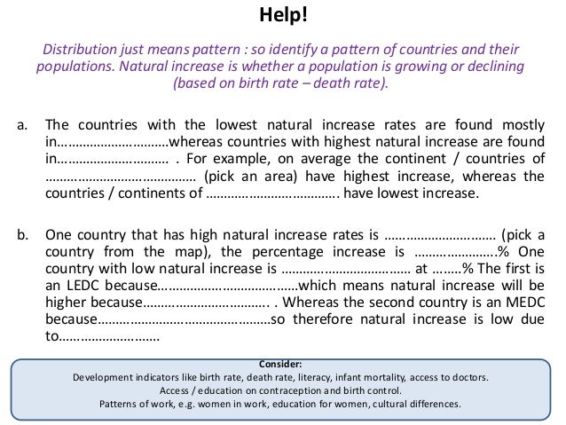 """Example model answers: population management """"For an area that has experienced government controlled population management..."""