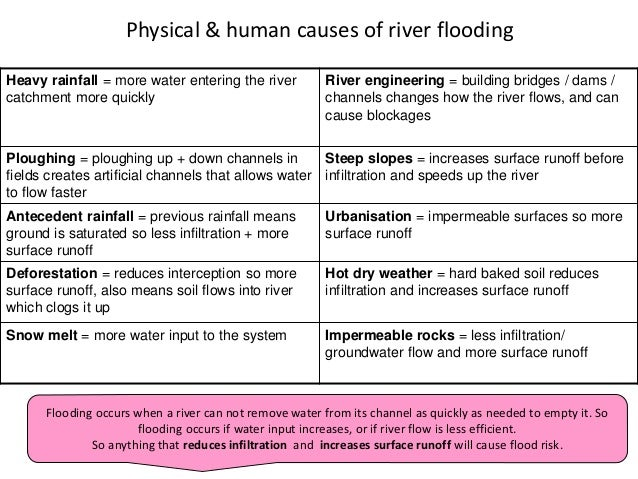 Heavy rainfall = more water entering the river catchment more quickly River engineering = building bridges / dams / channe...