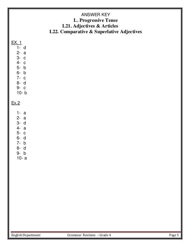 Revision sheets Language Arts