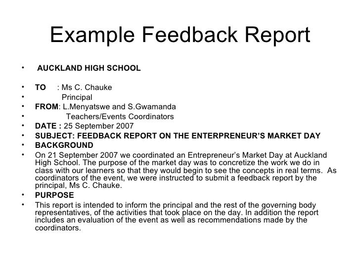 Example Feedback Reportu2022 ...  Formal Report Format Sample