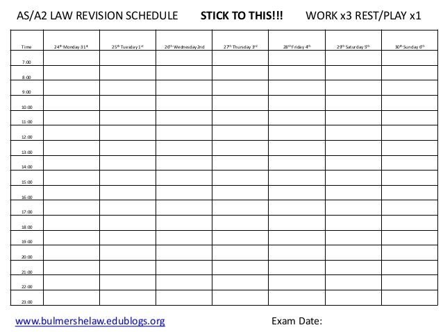 Revision timetable template