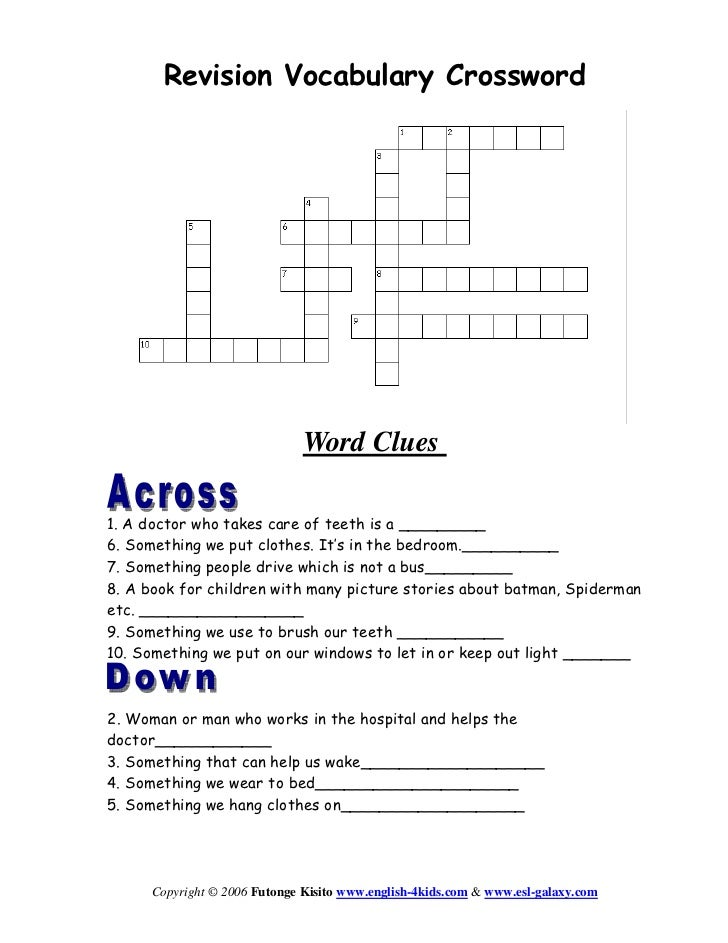 Revision vocabulary crossword revision vocabulary crossword word clues1 a doctor who takes care of teeth ccuart Image collections