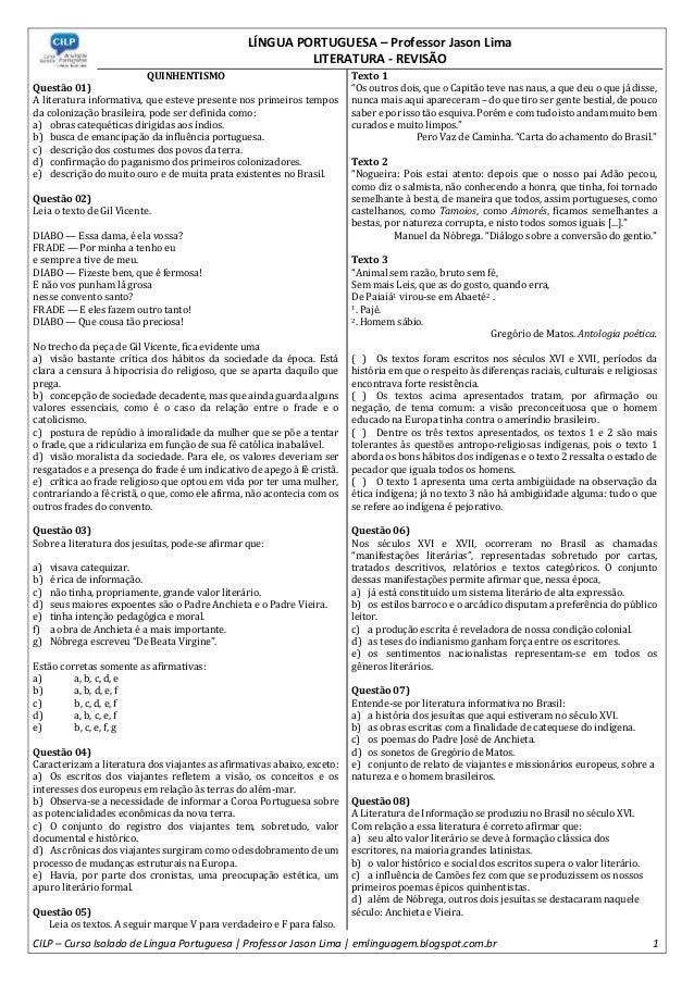 LÍNGUA PORTUGUESA – Professor Jason Lima LITERATURA - REVISÃO CILP – Curso Isolado de Língua Portuguesa | Professor Jason ...