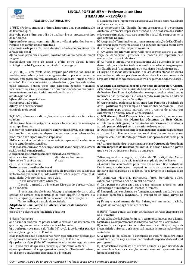 LÍNGUA PORTUGUESA – Professor Jason Lima LITERATURA – REVISÃO II CILP – Curso Isolado de Língua Portuguesa   Professor Jas...