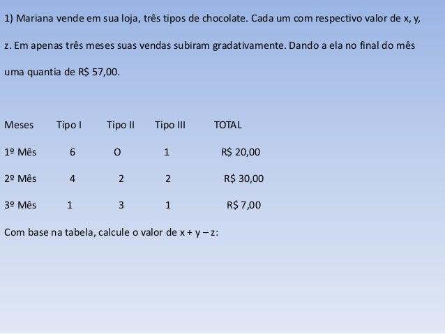 1) Mariana vende em sua loja, três tipos de chocolate. Cada um com respectivo valor de x, y,  z. Em apenas três meses suas...