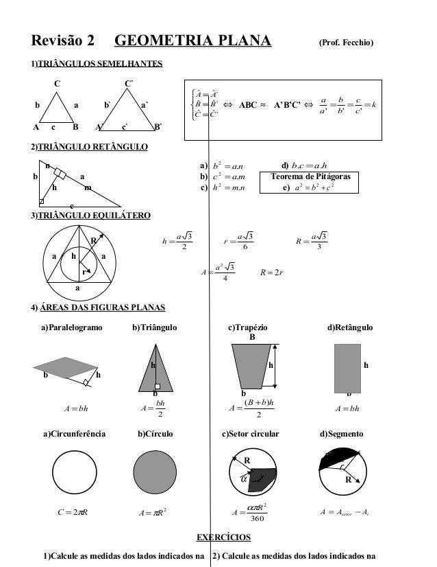 Revisão 2 GEOMETRIA PLANA (Prof. Fecchio) 1)TRIÂNGULOS SEMELHANTES C C` b a b` a`      ≡ ≡ ≡ `ˆˆ `ˆˆ `ˆˆ CC BB AA ⇔ A...