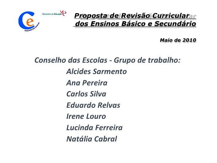 Proposta de Revisão Curricular EB e Sec