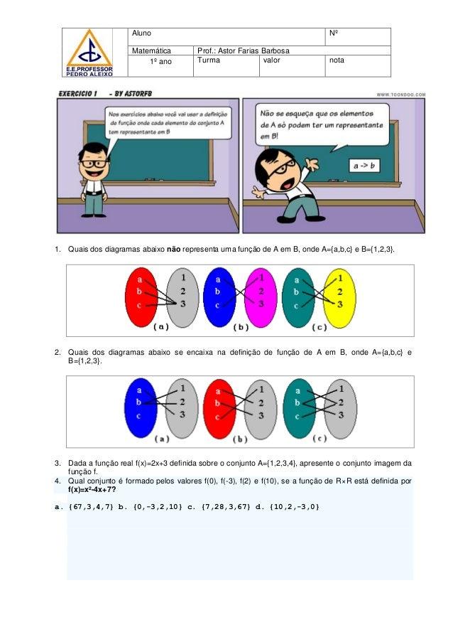 1. Quais dos diagramas abaixo não representa uma função de A em B, onde A={a,b,c} e B={1,2,3}. 2. Quais dos diagramas abai...